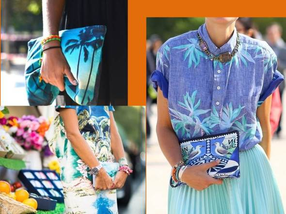my style bcn print tropical bolso mano